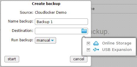 Create backup - Destination