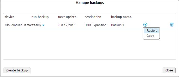 Manage backups - action menu restore
