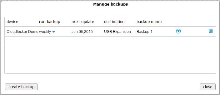 Manage backups - backed up 1 (new)