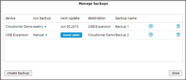 Manage backups - backed up (new)