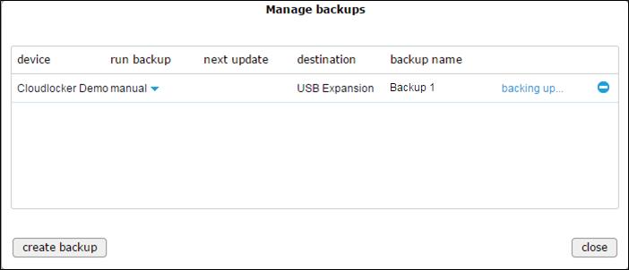 Manage backups - backing up