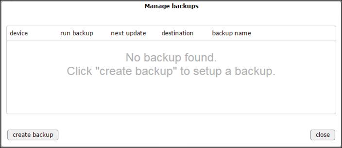 Manage backups - no backup