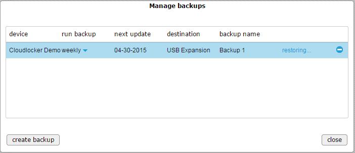 Manage backups - restoring