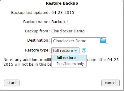 Restore backup - Restore type