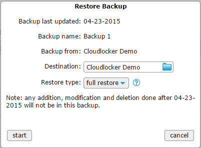 Restore backup - all filled in