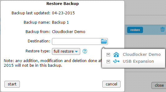 Restore backup - destination