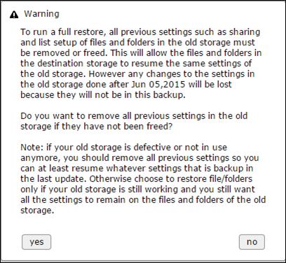 Restore warning 2