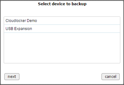 Select device to backup