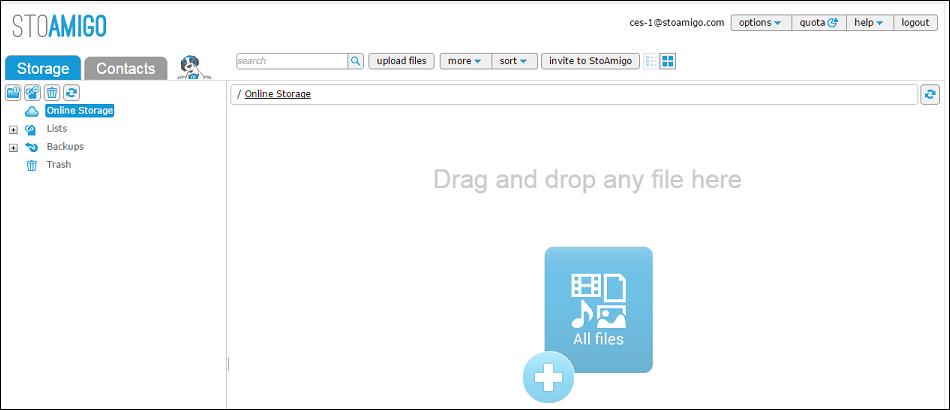 StoAmigo Web UI first login