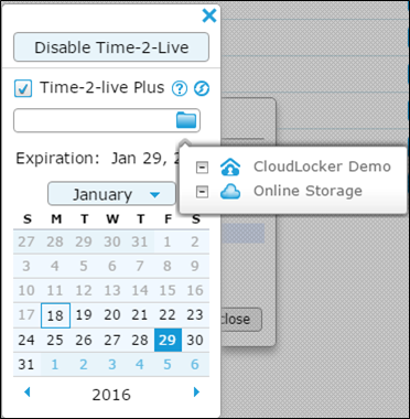 Time-2-Live Plus storage options