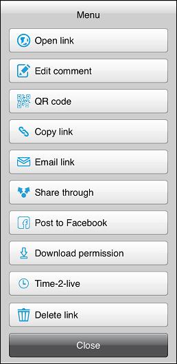 Via Link menu - iOS