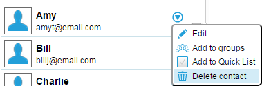 contact action icon - delete