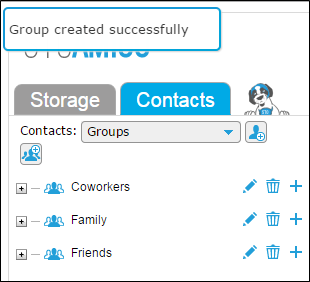 contacts groups - new group added