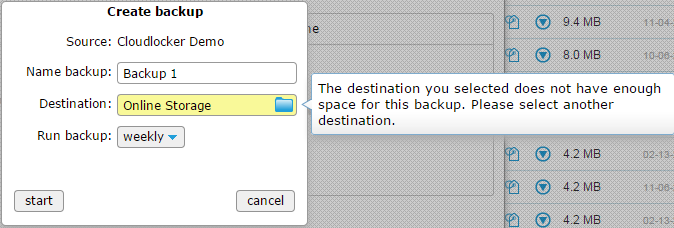 not enough space for backup
