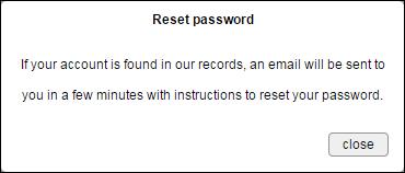 reset password email sent