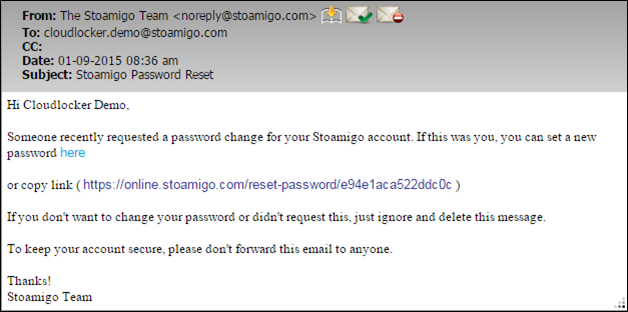 reset password email