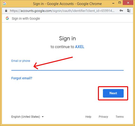 Add Google Drive - AXEL